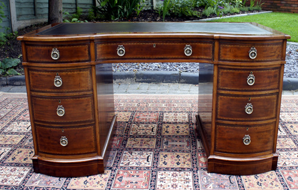 Antique Edwardian Inlaid Pedestal Desk - Antique Edwardian Inlaid Mahogany Pedestal Desk SN671