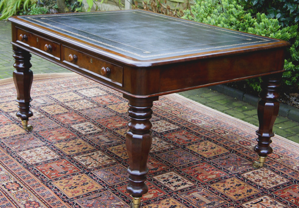 - Antique Mahogany Partners Library Or Writing Table Or Desk SN583