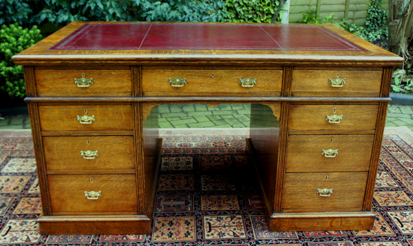 Antique English Oak Pedestal Desk