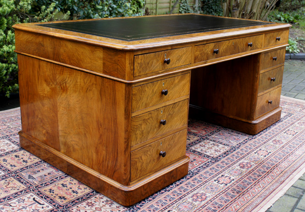 Antique Walnut Partners Desk - Antique Walnut Partners Desk SN639