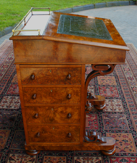 Antique Walnut Davenport Desk. John Taylor and Sons Furniture Stamp - Antique Figured And Burr Walnut Davenport Desk SN578