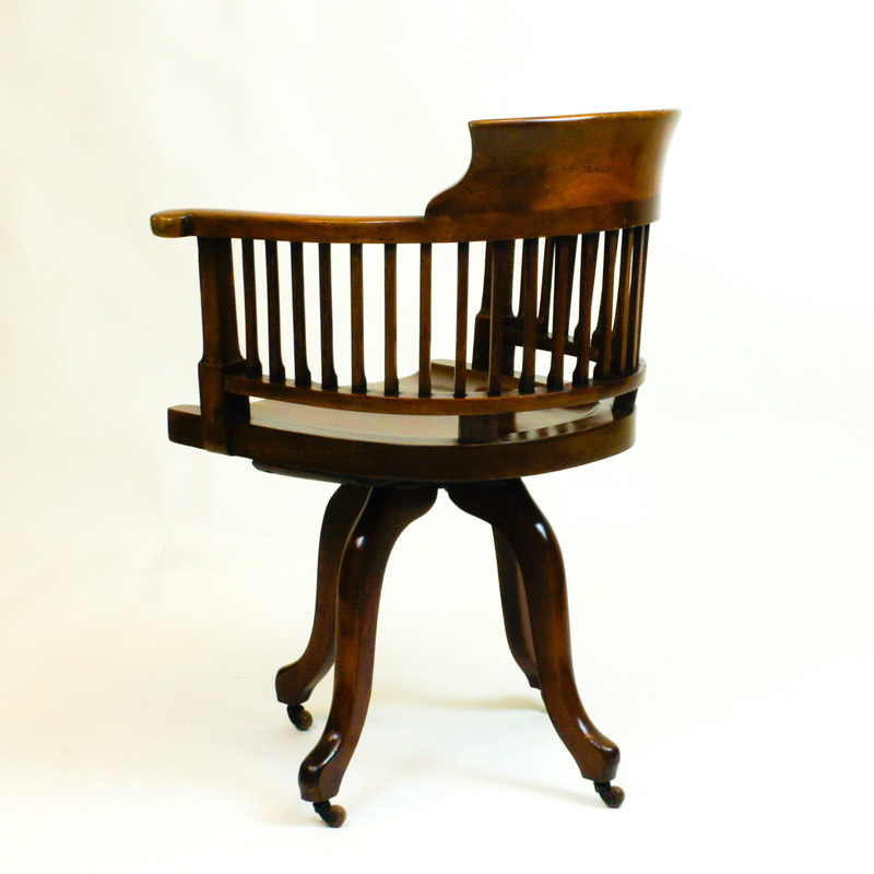 Antique Mahogany Swivel Seat Desk Chair - Antique Mahogany Swivel Seat Desk Chair SN699