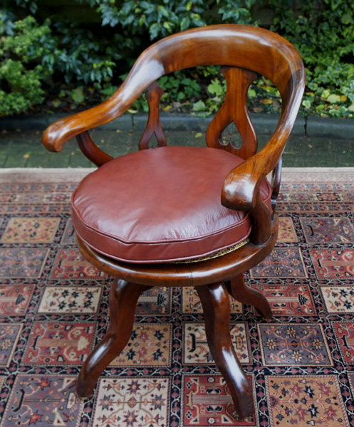 Antique Swivel Seat Desk Chair - Antique Mahogany Swivel Seat Desk Chair SN640
