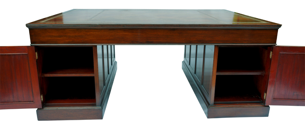 Large Antique Mahogany Pedestal Desk - Large Antique Mahogany Pedestal Desk SN732