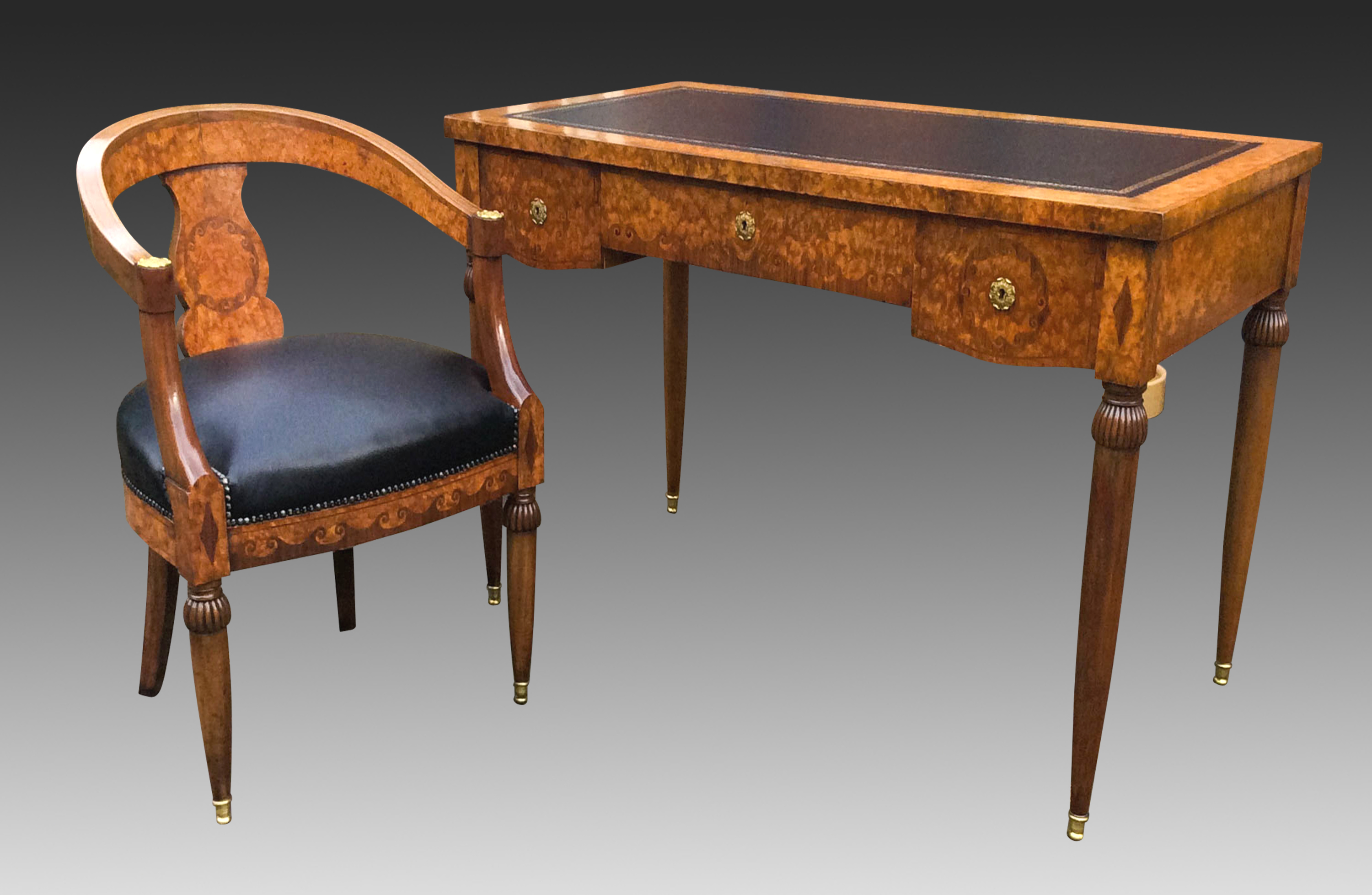Antique French Burr Walnut Writing Table And Chair 733