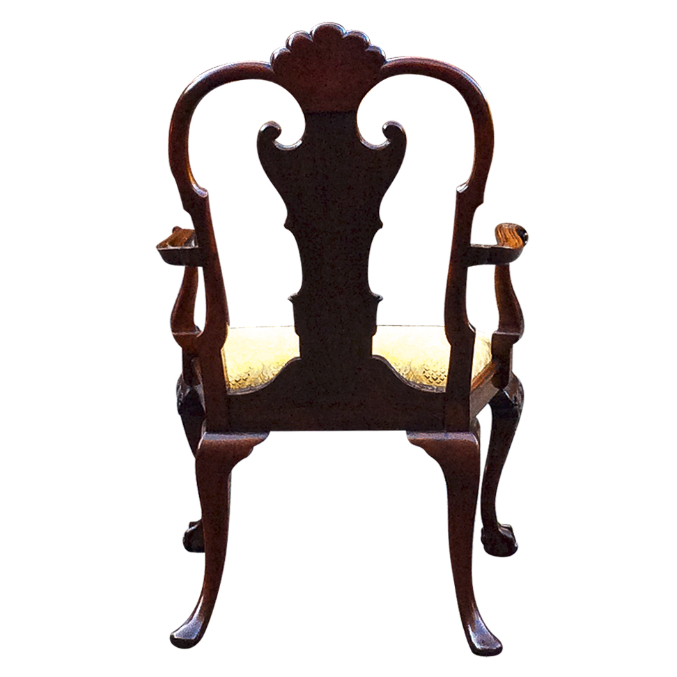 Large Antique Carved Mahogany Armchair or Desk Chair - Large Antique Carved Mahogany Armchair Or Desk Chair SN758
