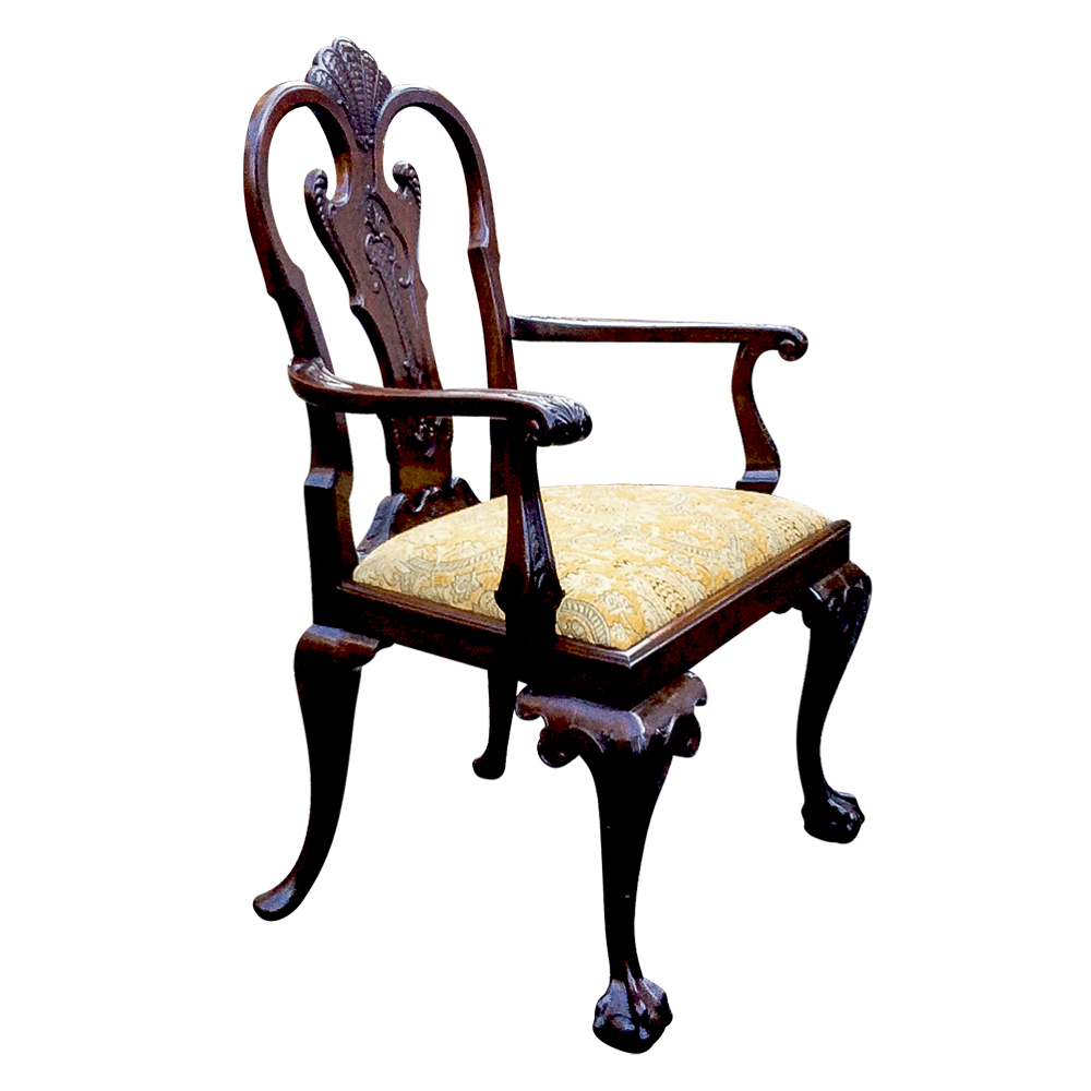 Large Antique Carved Mahogany Armchair Or Desk Chair Sn758