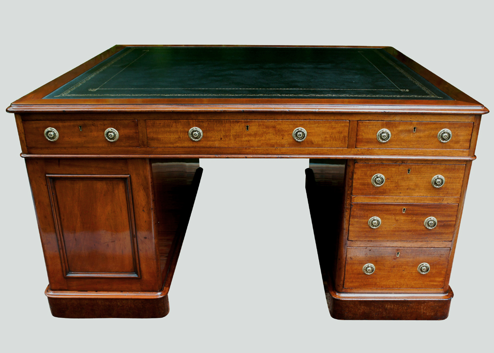 Antique Partners Desk Leather Writing Surface