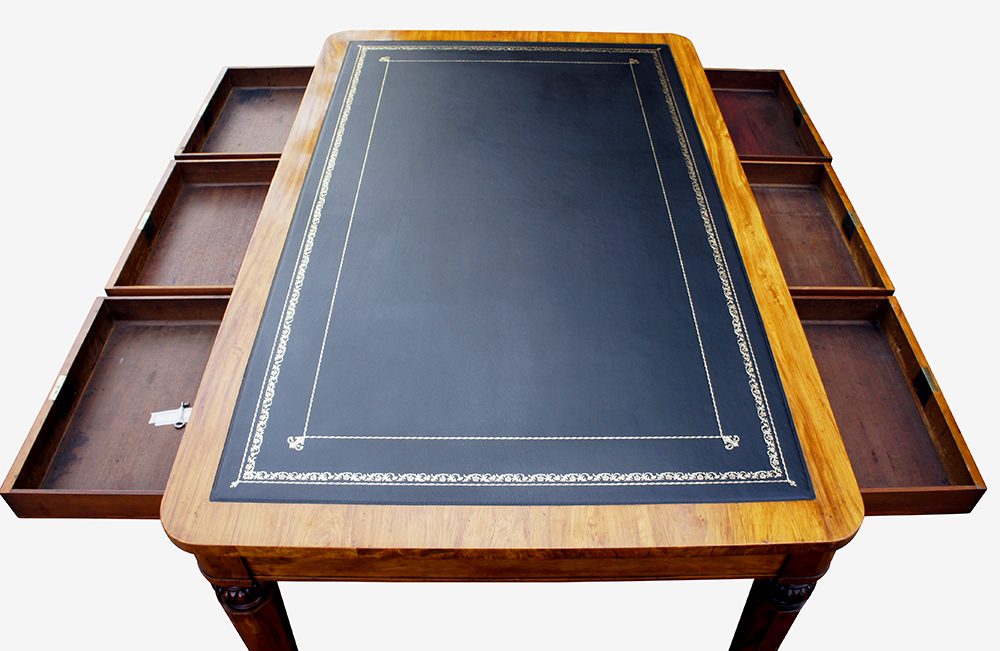 antique william 1v satinwood partners library table