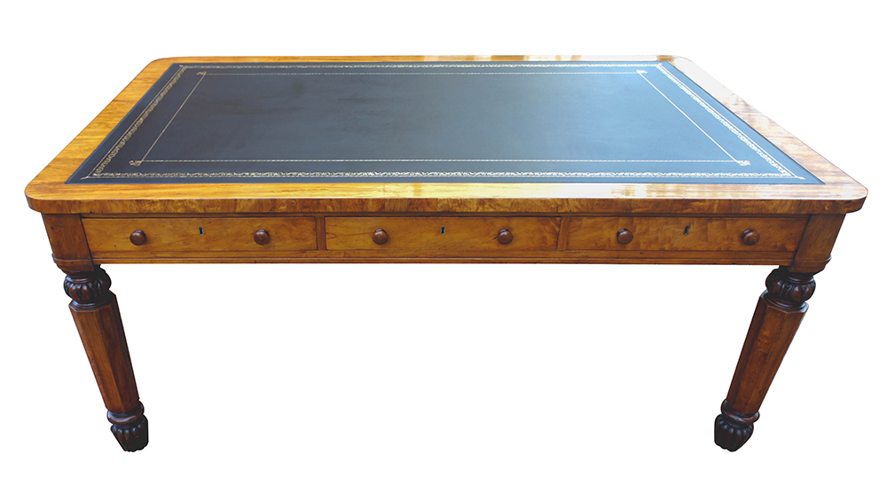 Antique Partners Library Table Writing Leather Tooling - Antique William 1V Satinwood Partners Library Table / Desk SN669