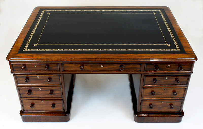 Antique Mahogany Partners Desk by Edwards & Roberts - Antique Mahogany Partners Desk By Edwards And Roberts