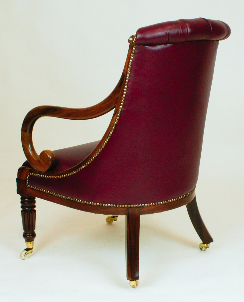 Antique William 1V Tulipwood Library Armchair SN697