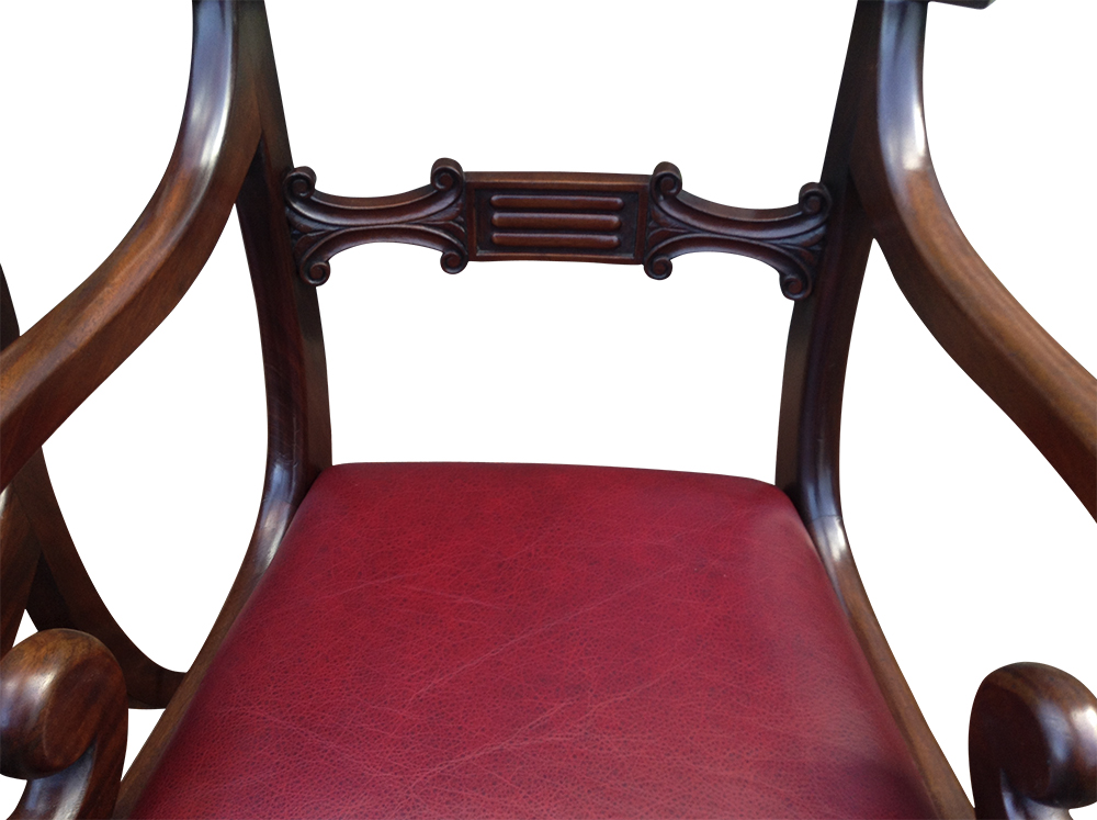 pair of antique mahogany open armchairs or desk chairs sn691