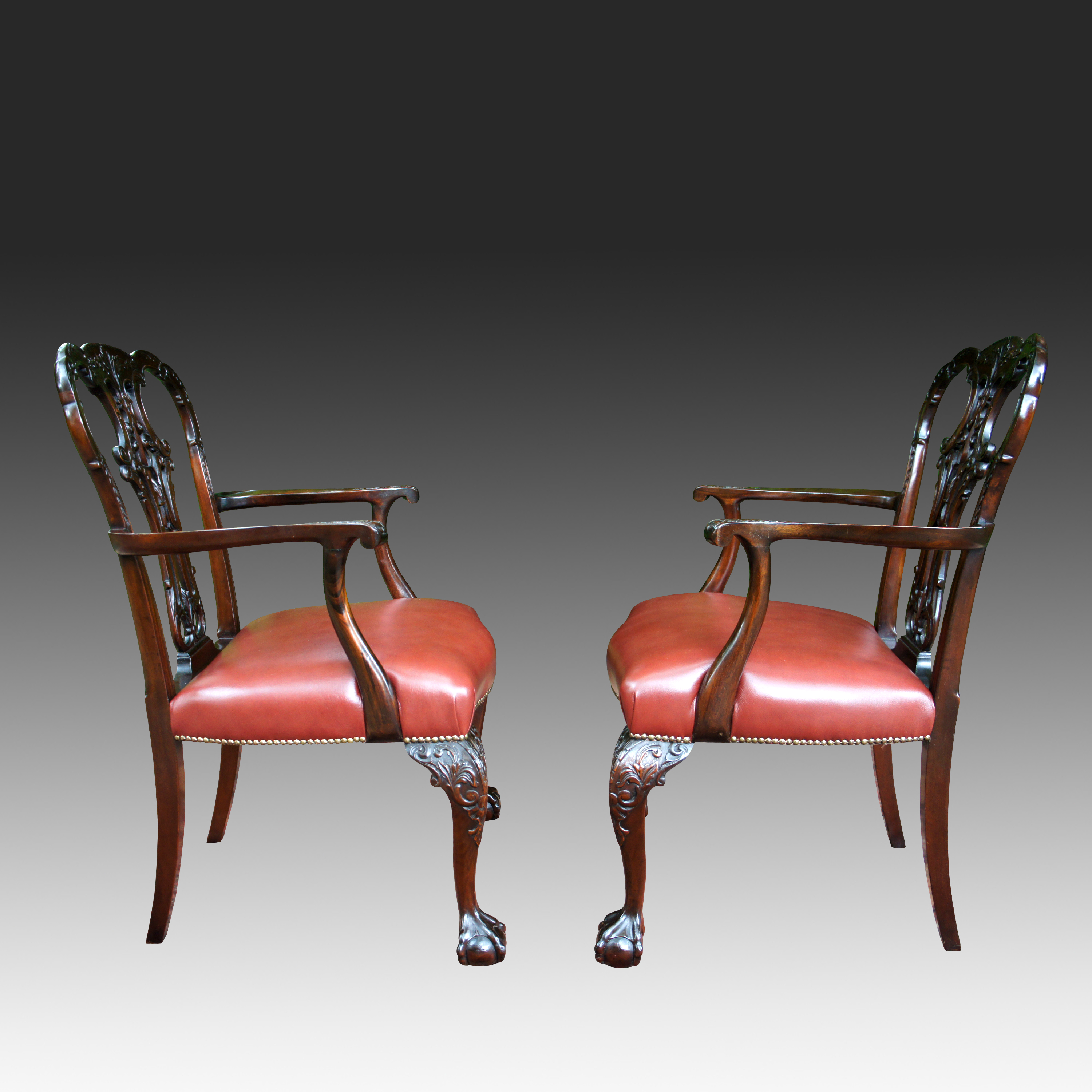 Pair Antique Chippendale Style Armchairs Sn625