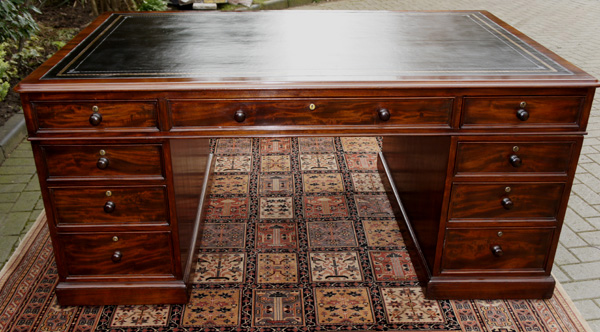 Antique Mahogany Partners Desk M Wilson