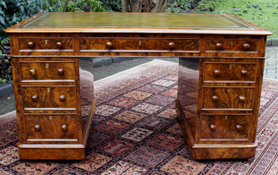 Antique English Walnut Desk by Edwards and Roberts