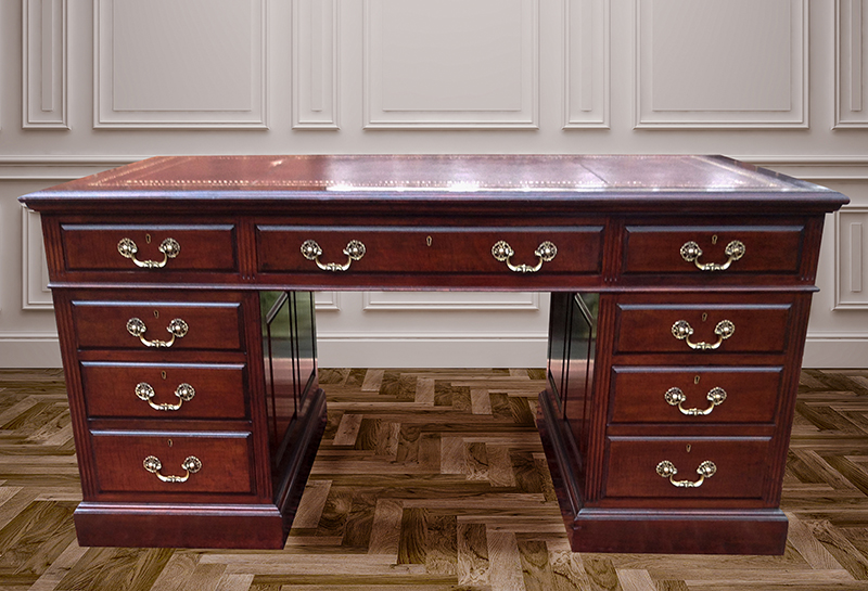 Antique Mahogany Pedestal Desk with Fielded Panels