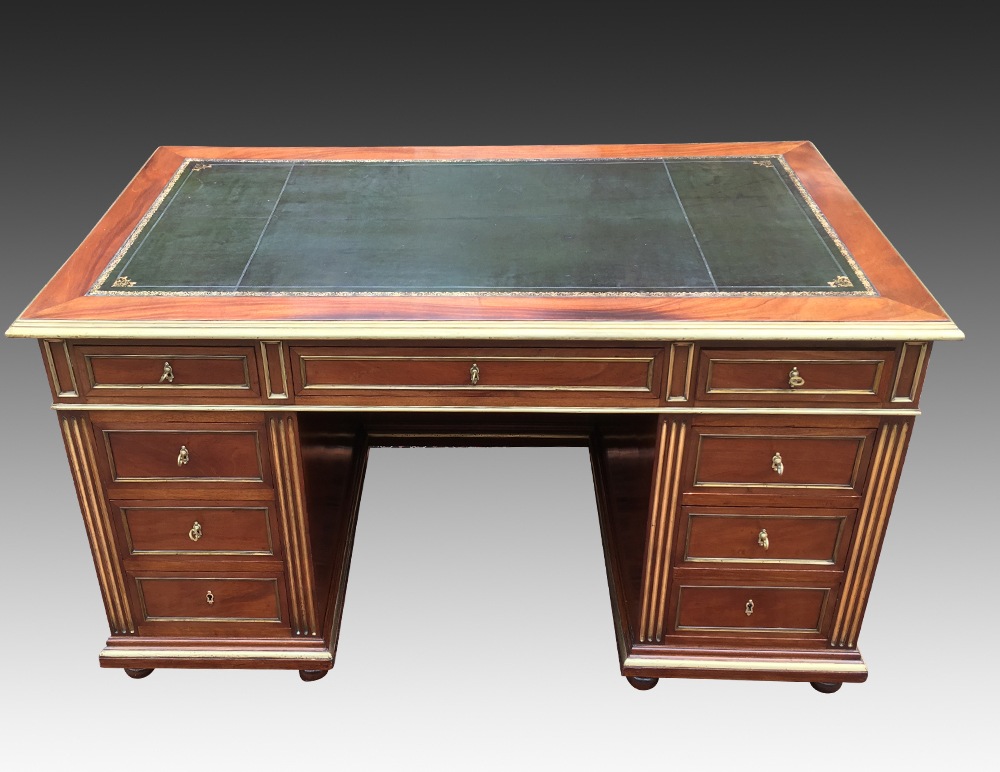 Antique French Empire Style Pedestal Desk