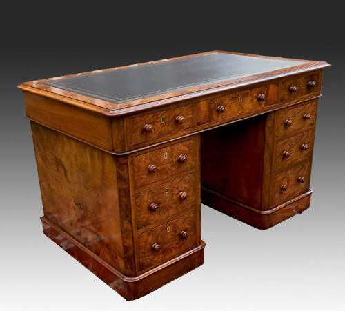 Antique Walnut Pedestal Desk