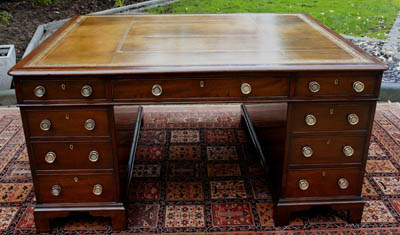Large Antique Georgian Mahogany Partners Desk