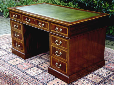 Antique Edwardian Mahogany & Satinwood Desk