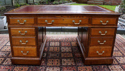 Antique Panelled Oak Pedestal Desk