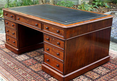 Antique Victorian Mahogany Partners Desk