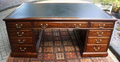 Large Antique Mahogany Partners Desk - Our Sold Antique Desks, Library Desks, Partners Desks And Antique
