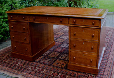 Antique Golden Oak Pedestal Desk
