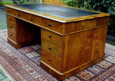 Antique Figured Walnut Partners Desk