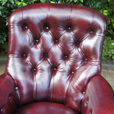 Antique Rosewood & Leather Library Chair