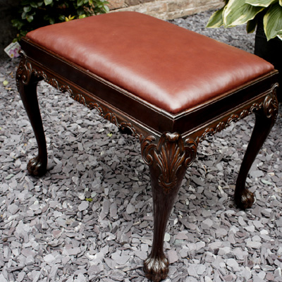 Antique Gillows Chippendale Style Mahogany Stool