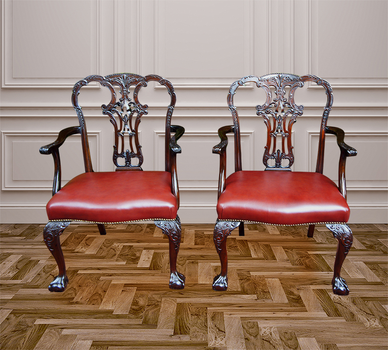 Pair of Antique Chippendale Style Armchairs - Antique Desk Chairs And Antique Library Chairs Beautifully Restored