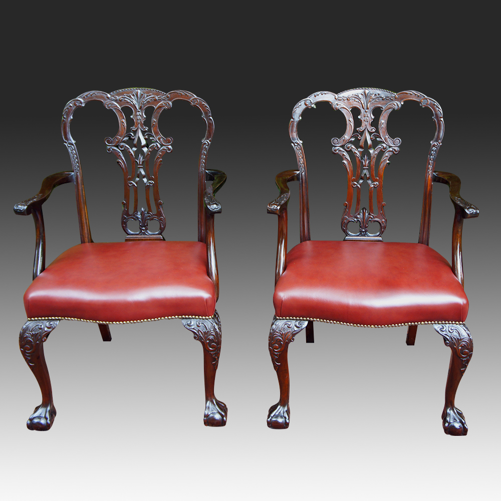 Pair of Antique Chippendale Style Armchairs