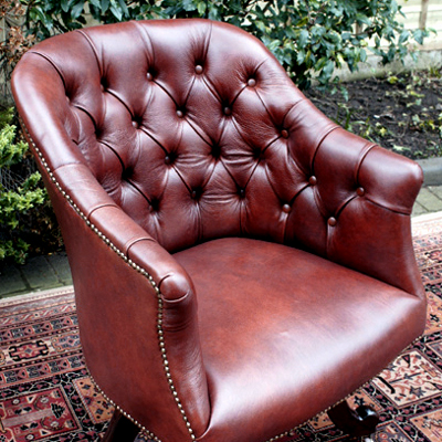 Antique Mahogany & Leather Swivel Desk Chair