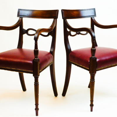 Pair Antique Regency Desk Cairs or Armchairs