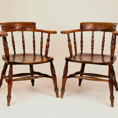 Pair of Antique Windsor 'Captains' Armchairs
