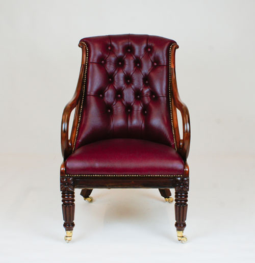 Antique William 1V Tulipwood Library Armchair - Antique Desk Chairs And Antique Library Chairs Beautifully Restored