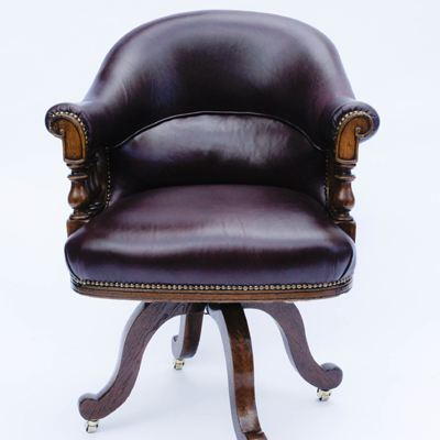 Antique Oak and Hide Upholstered Swivel Seat Desk Chair