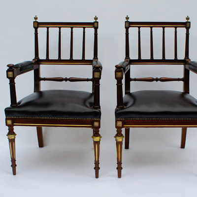 Pair Antique French Empire Style Office Chairs