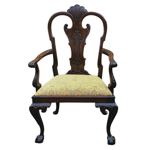 Large Antique Carved Mahogany Armchair or Desk Chair - Antique Desk Chairs And Antique Library Chairs Beautifully Restored