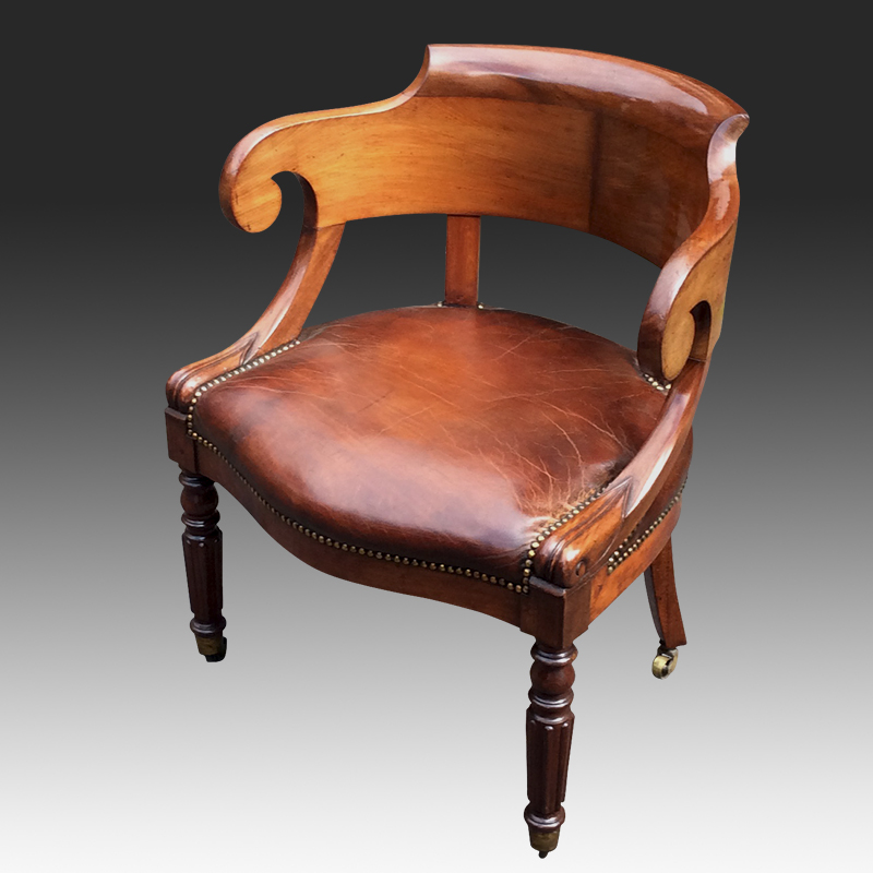 Antique Georgian Mahogany Desk Chair with Leather Seat - Antique Desk Chairs And Antique Library Chairs Beautifully Restored