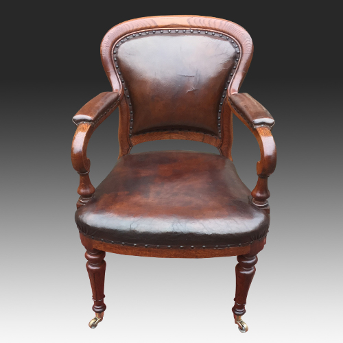 Antique Gillows Oak and Leather Desk Chair