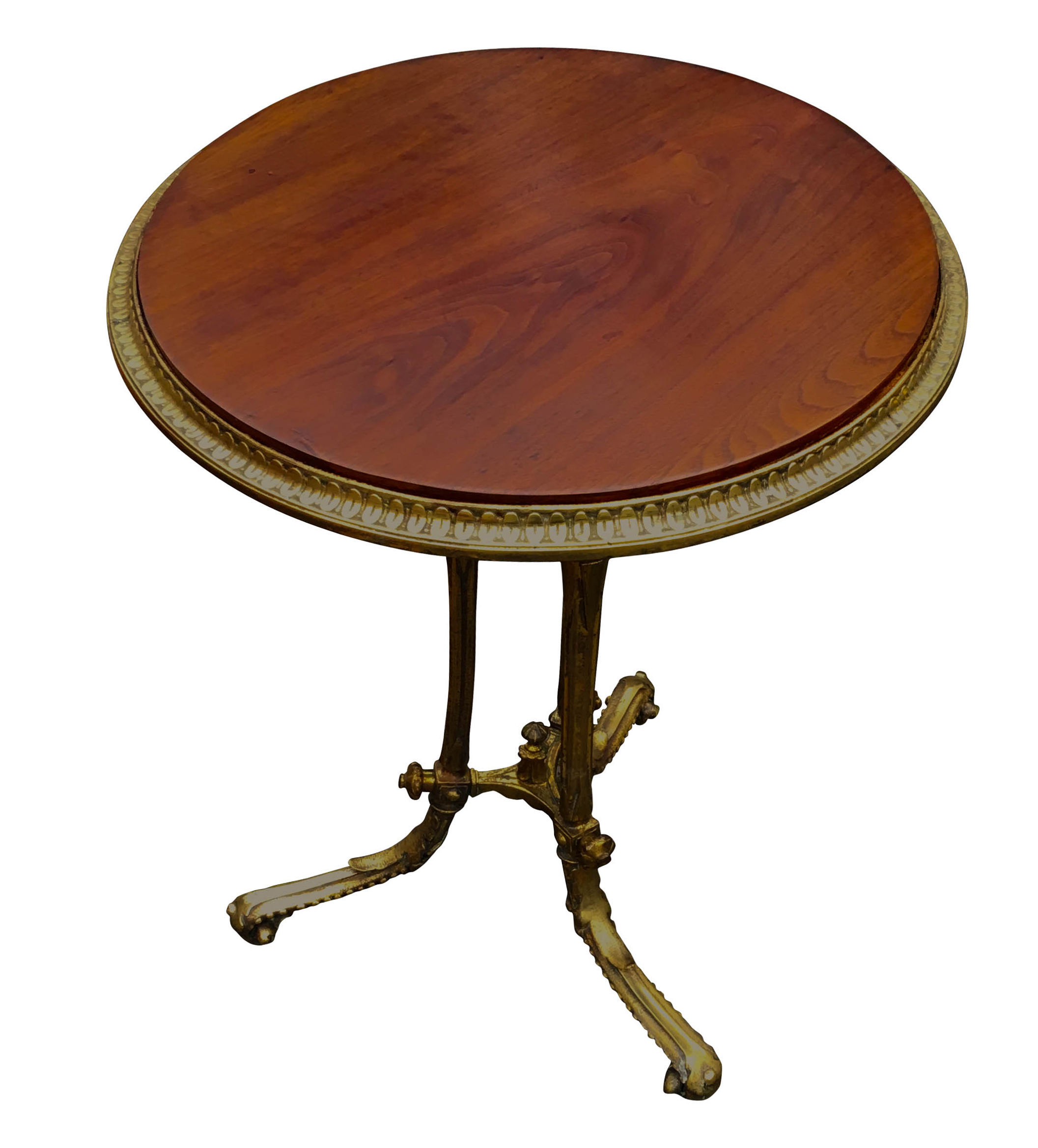 Antique Brass and Walnut Occasional Table