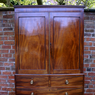 Antique George 111 Mahogany Linen Press