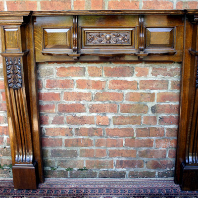 Antique Carved Oak Fire Surround