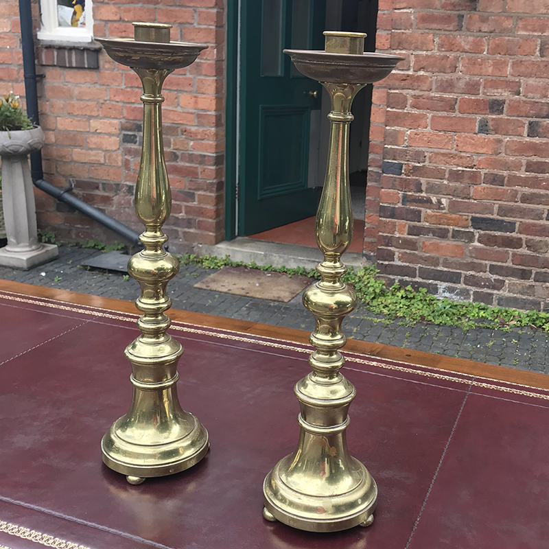 19th century Pair Tall Brass Candle Sticks