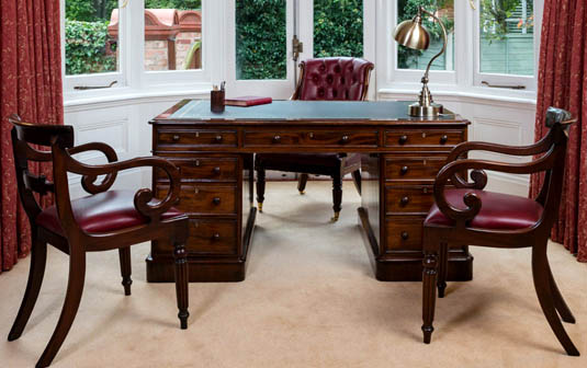 Antique Partners Desk and Desk Chairs