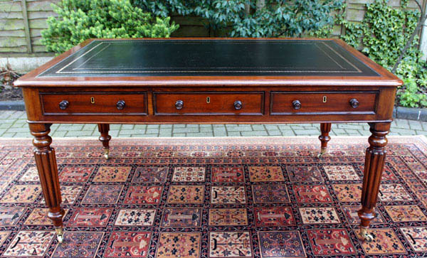 Antique Mahogany Partners Library Table