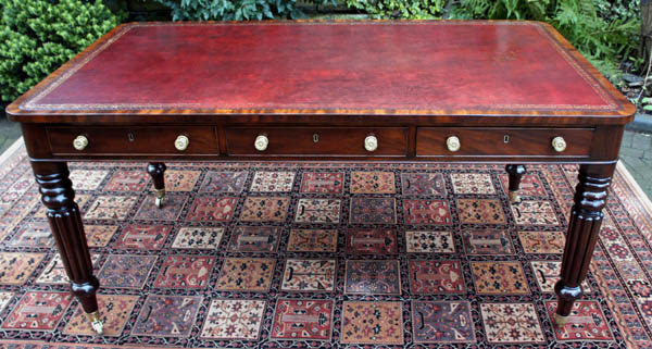 Antique Regency Partners Library Table or Writing Desk